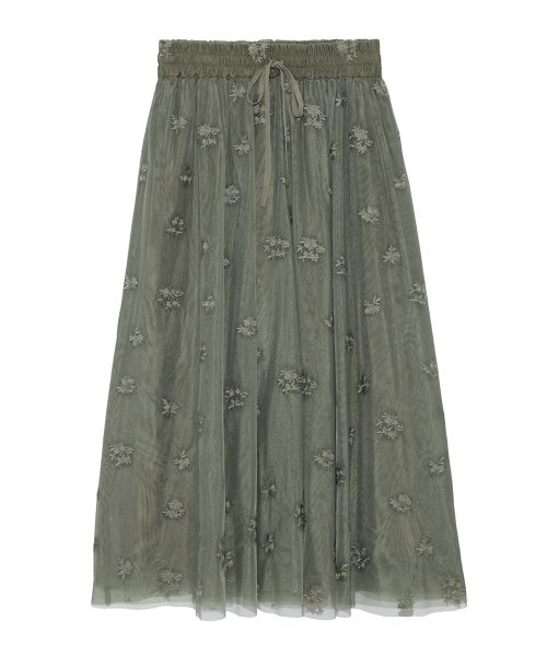 Mila Owen(ミラオーウェン)/刺繍入りチュールスカート/09WFS191072