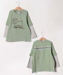 petit main/スケボー犬プリントフェイクレイヤードTシャツ/501598720