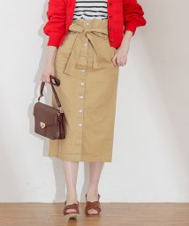 NICE CLAUP OUTLET/【natural couture】配色ステッチ釦タイトスカート/501600481