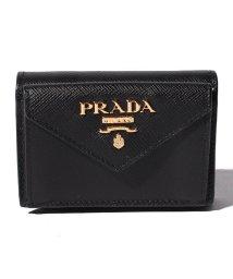 PRADA/【PRADA】3つ折りミニ財布/SAFFIANO METAL ORO【NERO】/501594825