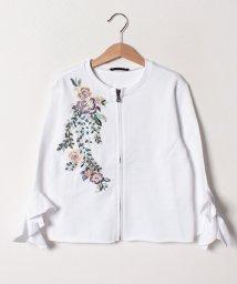 SISLEY YOUNG/スウェットフラワー刺繍ジップカーディガン/501596223
