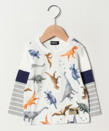 kladskap/恐竜柄袖切り替えTシャツ/501602252