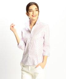NARA CAMICIE/イタリアン細ストライプスタンドカラー七分袖シャツ/501618153
