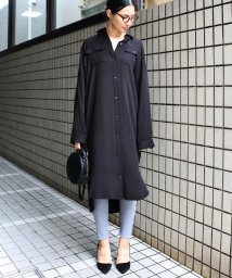 and Me.../【V-4】とろみレーヨン素材 ロング シャツワンピース/501622298