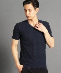 HIDEAWAYS NICOLE/市松×ボーダー柄半袖VネックTシャツ/501591807