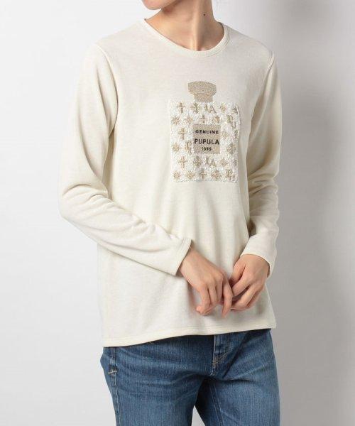 en recre(アン レクレ)/【PUPULA】パフューム刺繍カットソー/6901133