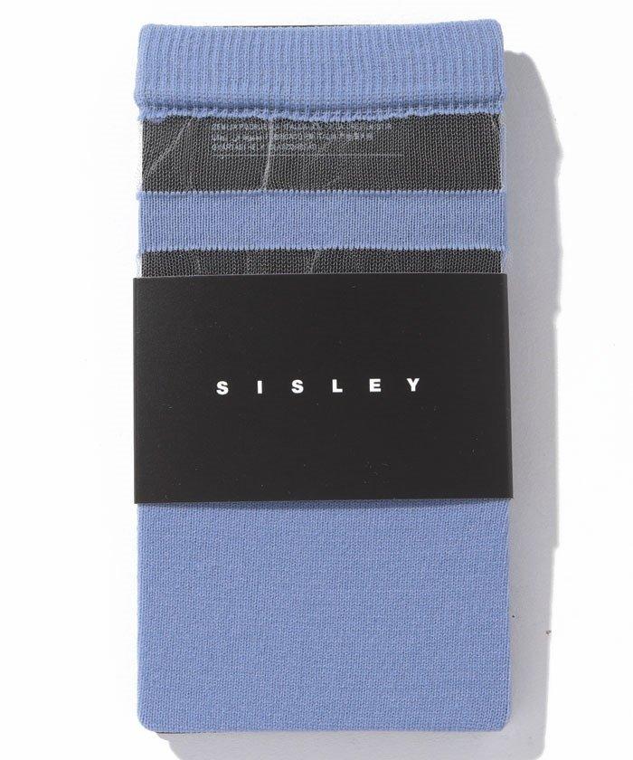 シスレーレーシーボーダーソックス・靴下レディースライトブルーFREE【SISLEY】