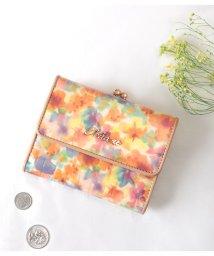 Clelia-u-/がま口 財布 レディース がま口財布 三つ折り 本革 レザー エナメル クロコ型押し 花柄 ミドルウォレット/501681484