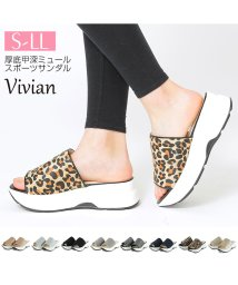 Vivian/厚底甲深ミュールスポーツサンダル/501756036