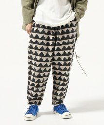 JOURNAL STANDARD/GOLD / ゴールド : LINEN HERRINGBONE MOUNTAIN RANGE MOTIF EASY PANTS/501796293