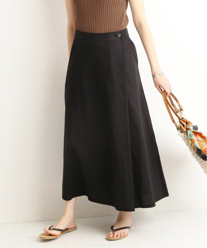 IENA リネン混ロング巻き風スカート