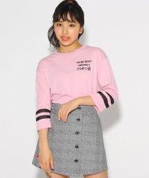 PINK-latte/袖ラインロゴ7分袖 トップス/501848290