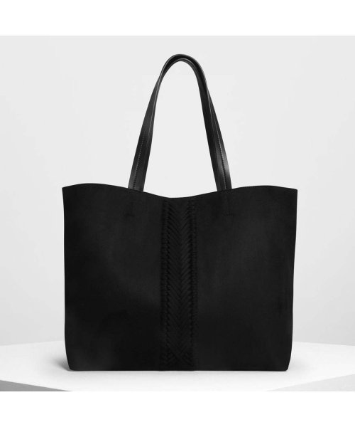 CHARLES & KEITH(チャールズ アンド キース)/ウェーブディテール トートバッグ / Weave Detail Tote Bag (Black)/CH1328AW11050