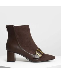 CHARLES & KEITH/バックルディテール アンクルブーツ / Buckle Detail Ankle Boots (Dark Brown)/501682689