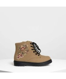CHARLES & KEITH/キッズ フローラル エンブロイダリー ブーツ / Kids Floral Embroidery Boots (Beige)/501682737