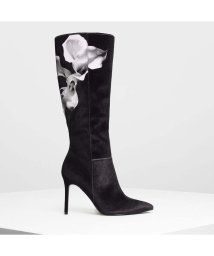 CHARLES & KEITH/フローラルニーブーツ / Floral Knee Boots (Black)/501682742