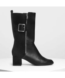 CHARLES & KEITH/バックルディテール カフブーツ / Buckle Detail Calf Boots (Black)/501682796