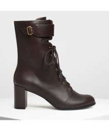 CHARLES & KEITH/バックルディテール レースアップカフブーツ / Buckle Detail Laced Up Calf Boots (Dark Brown)/501682818