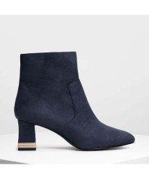 CHARLES & KEITH/メタリックアクセント ヒールブーツ / Metallic Accent Heel Boots (Dark Blue)/501682850