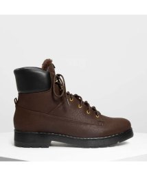 CHARLES & KEITH/ファーリーカフ レースアップブーツ / Furry Cuff Laced Up Boots (Dark Brown)/501682859