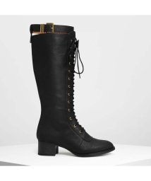 CHARLES & KEITH/レースアップ ニーブーツ / Laced Up Knee Boots (Black)/501682865