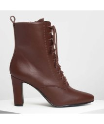 CHARLES & KEITH/レースアップ カフブーツ / Laced Up Calf Boots (Brown)/501682868