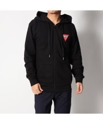 GUESS/ゲス GUESS SMALL TRIANGLE LOGO HOODED ZIP UP PARKA (BLACK)/501727972