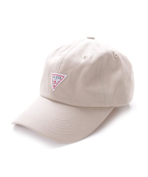 GUESS(ゲス)/ゲス GUESS TRIANGLE LOGO CANVAS 6 PANEL CAP (BEIGE)/GU1432EU11528