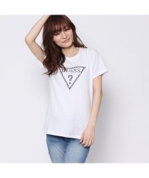 GUESS/ゲス GUESS GINGHAM CHECK TRIANGLE LOGO TEE (WHITE)/501728963
