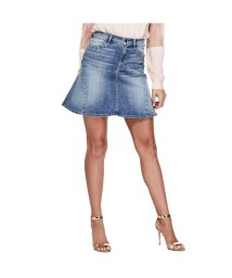 GUESS/ゲス GUESS HIGH-RISE LACE UP FLARED DENIM SKIRT (MEDIUM WASH)/501728976