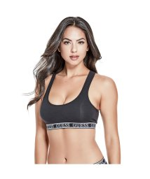 GUESS/ゲス GUESS LOGO BAND SPORTS BRA (JET BLACK W/ FROST GREY)/501728986