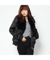 GUESS/ゲス GUESS HILMA BOMBER JACKET (JET BLACK)/501729207