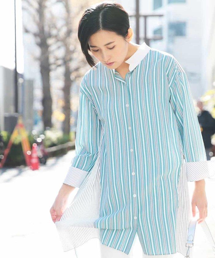 【洗濯機OK】ミックスストライプロングシャツ