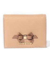 MIUMIU/【MIUMIU】2つ折りミニ財布/CALF FIOCCO【NOISETTE+CARAMEL】/501600169