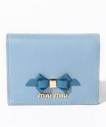 MIUMIU/【MIUMIU】2つ折りミニ財布/CALF FIOCCO【ASTRALE+COBALT】/501600170