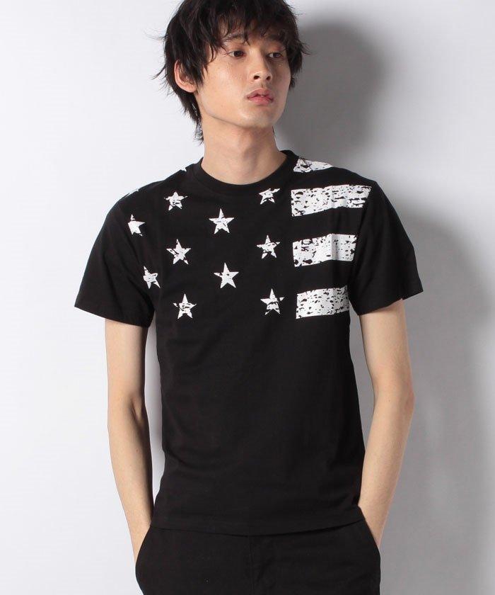 星条旗プリントクルーネック半袖Tシャツ