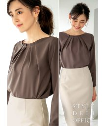 STYLE DELI/【SD OFFICE】ネックラインタックブラウス/Made in JAPAN/501879199