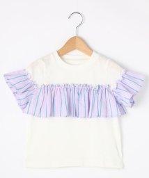 THE SHOP TK(KID)/【100cm~140cm】ガールズストライプ切り替えTシャツ/501880388