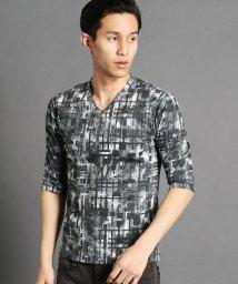 NICOLE CLUB FOR MEN/転写プリント柄Vネック5分袖Tシャツ/501560008