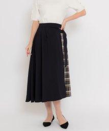 TONAL/チェックアシメプリーツスカート/501625345