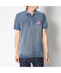 STYLEBLOCK/スタイルブロック STYLEBLOCK USA星条旗胸刺繍鹿の子半袖ポロシャツ (ネイビー)/501841811