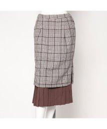STYLEBLOCK/スタイルブロック STYLEBLOCK グレンチェック×レイヤードプリーツタイトスカート (ブラウン)/501843870