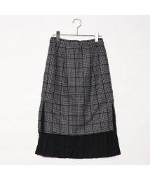 STYLEBLOCK/スタイルブロック STYLEBLOCK グレンチェック×レイヤードプリーツタイトスカート (ダークグレー)/501843871