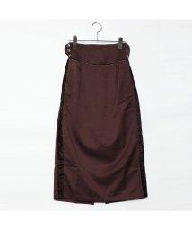 STYLEBLOCK/スタイルブロック STYLEBLOCK ツイルベルベットラインスカート (ブラウン)/501844648