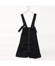 STYLEBLOCK/スタイルブロック STYLEBLOCK 綿ツイルサスペンダー付きフロントジップスカート (ブラック)/501845107