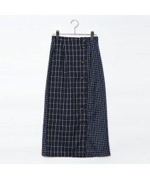 STYLEBLOCK/スタイルブロック STYLEBLOCK ウィンドウペンチェック柄切り替えタイトスカート (ネイビー)/501846123