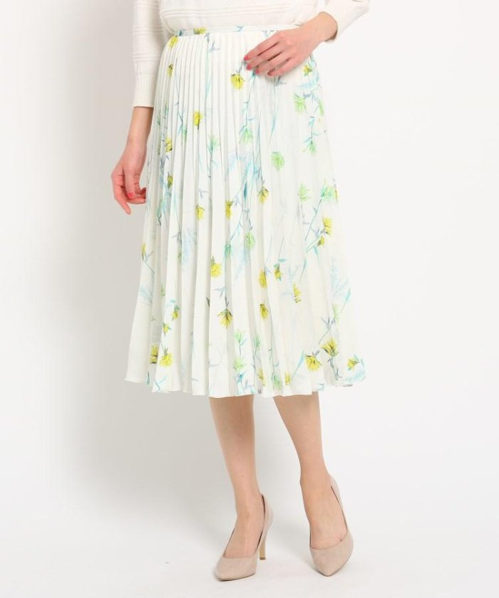 【洗える】サテン ワイルドフラワープリーツスカート