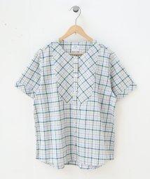 coen/綿麻チェックシャツブラウス/501885052