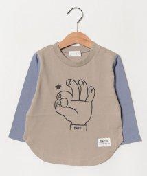 b-ROOM/バイカラー裾カーブTシャツ/501651719