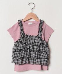 b-ROOM/ギンガムティアードキャミソール×Tシャツセット/501730314